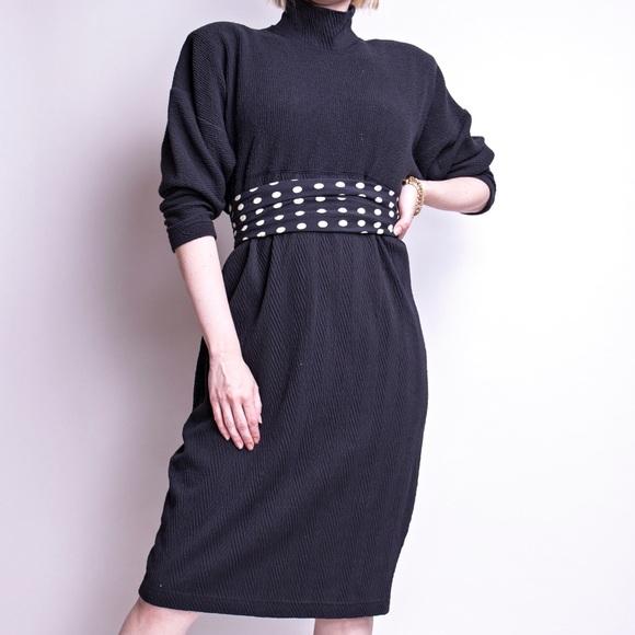 93d22daa Vintage Dresses | 80s Black Batwing Turtleneck Sweater Dress | Poshmark